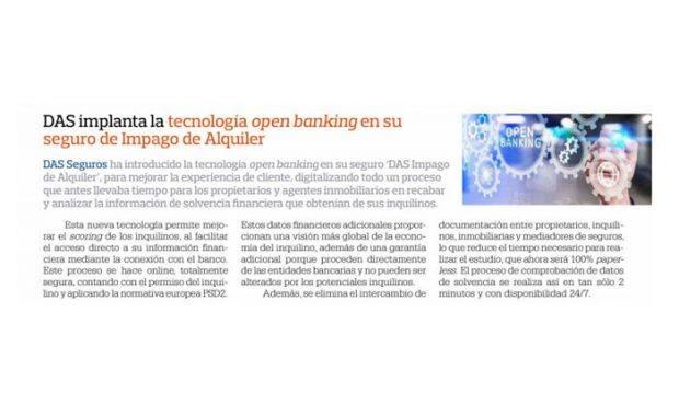 DAS implanta la tecnología Open Banking en su seguro de Impago de Alquiler